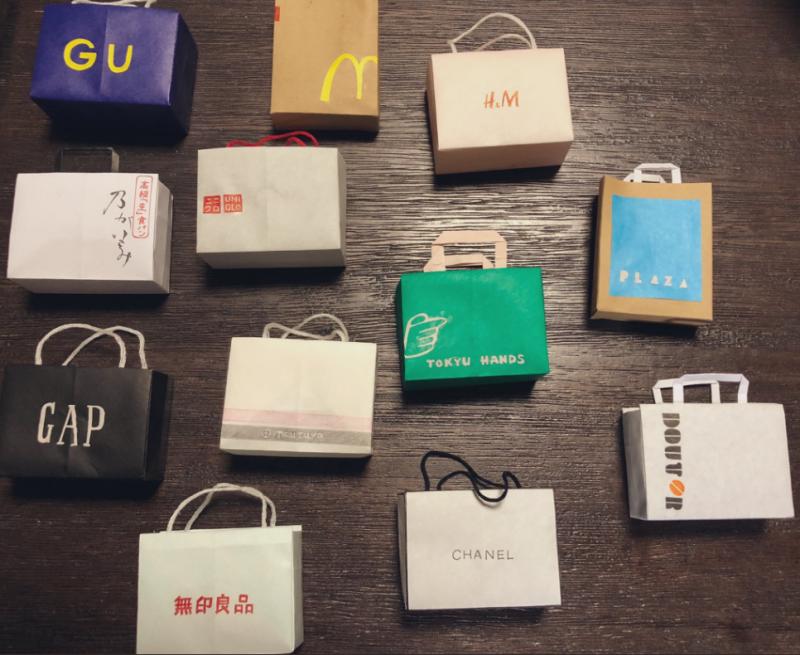 日本網友分享自己妹妹創作的手工小紙袋。(圖取自@katchan_fuk網友推特)