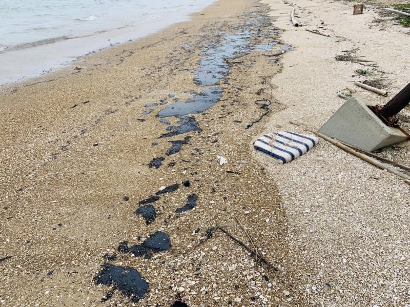 金門海邊再現1公里長的黑色油污 海巡將緝凶