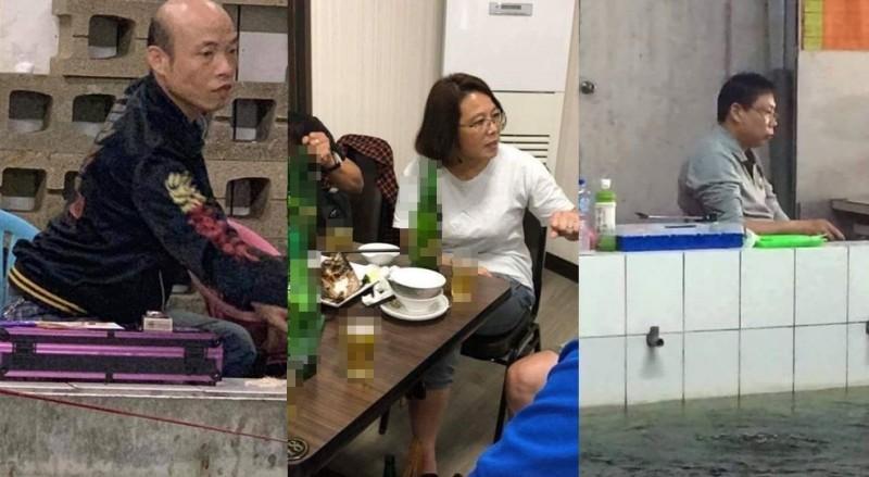 釣蝦場內與蔡英文、韓國瑜、柯文哲相似度極高的民眾在網路上引發熱議。(圖擷取自加藤軍台灣粉絲團2.0)