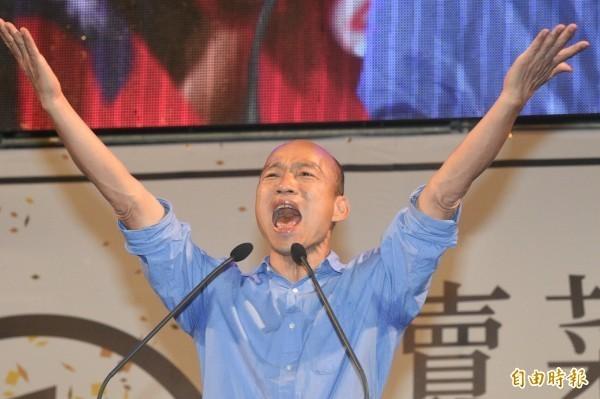 韓國瑜面對媒體訪問,表示參選總統的事情等回台灣後再討論。(資料照)
