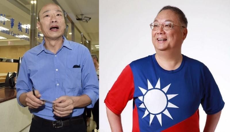 杜紫宸(右)今天在臉書連續發文嗆韓國瑜(左),還說,若韓當選總統,「請上蒼刺瞎我的眼」。(資料照,杜紫宸臉書,本報合成圖)