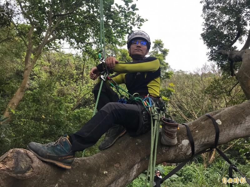 攀樹師雖然「薪情」不錯,但卻是高危險工作。(記者簡亭宇攝)