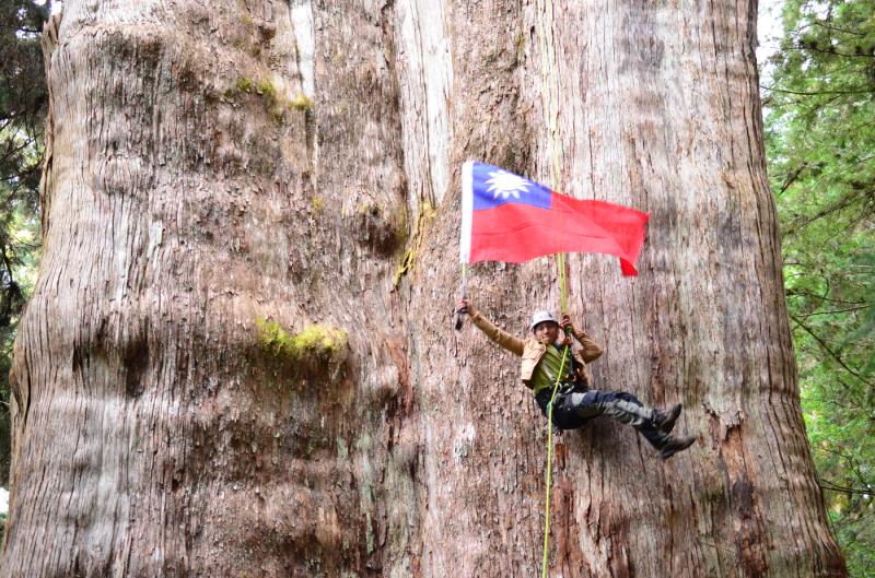 爬上台灣神木看風景,是翁恒斌最難忘的回憶。(翁恒斌提供)