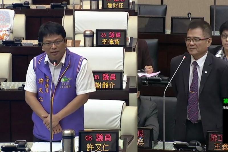 許又仁(左)質疑某議員是汽車駕駛員職業工會理事長,沒有從事該工作,「是否是掛羊頭賣狗肉?」(記者蔡文居翻攝)