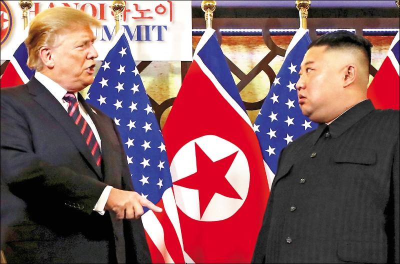 美國總統川普和北韓領導人金正恩(右)二月二十七日在越南河內「大都市索菲特傳奇酒店」舉行「川金二會」前,透過口譯簡短交談,隔天峰會卻在未達成任何協議下破局。(路透檔案照)
