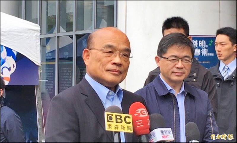 行政院長蘇貞昌昨批韓國瑜是當帝王的心態,濫用警力,非常不可取。(記者林曉雲攝)