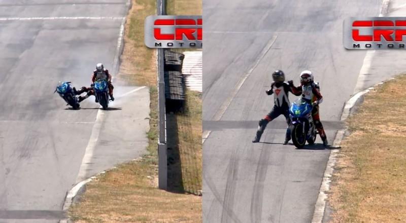 2名摩托車手在賽道上打架,均被禁賽2年。(圖擷取自CRF MOTORS)