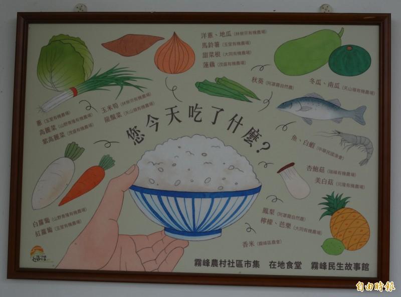 霧峰民生故事館農學食堂所用食材都是有機和自然農法耕種,餐廳牆壁清楚標示食材來源。(記者陳建志攝)