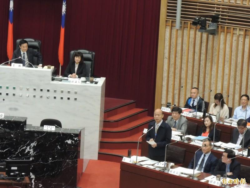 高雄市長韓國瑜今表示支持中華民國、拒絕一國兩制,結果被問是否真心拒絕?(記者王榮祥攝)
