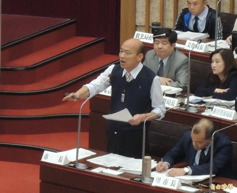 韓國瑜答詢時強調九二共識的重要,但反對一國兩制。(記者王榮祥攝)