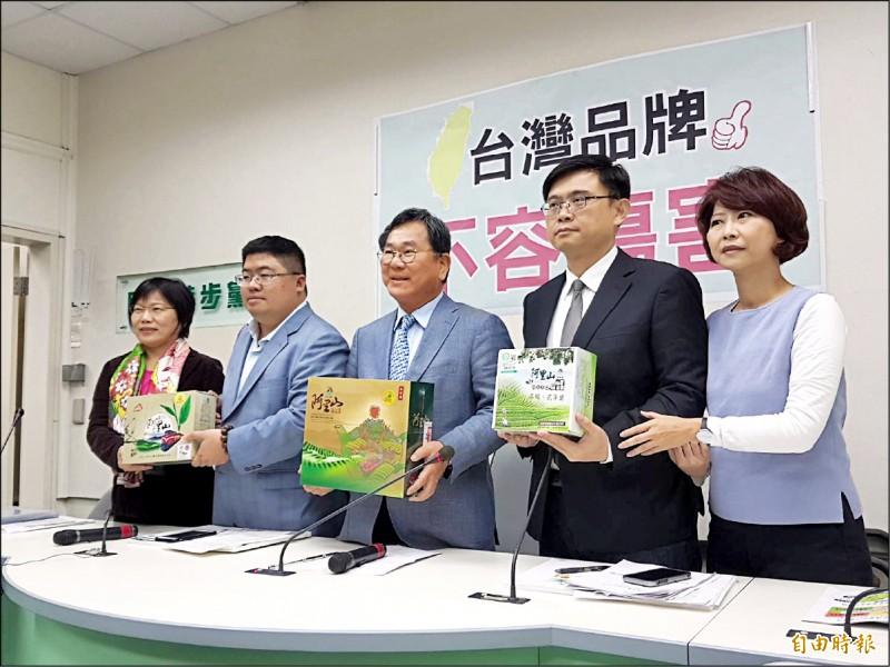 立院民進黨團昨召開「台灣品牌,不容傷害」記者會,劉世芳(左起)、蔡易餘、陳明文、賴瑞隆、陳亭妃與會。(記者謝君臨攝)