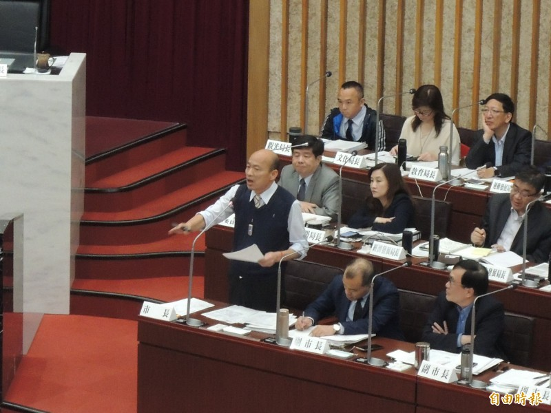 高雄市韓國瑜昨天在市議會接受質詢說,說他支持九二共識,但反對一國兩制。(資料照)