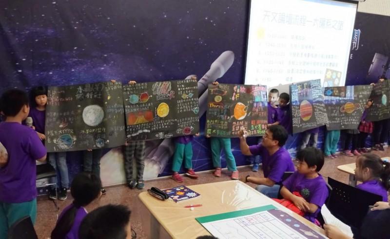 兒童節前夕,竹門國小、二溪國小舉辦跨校天文論壇,發揮想像力設計太陽系旅遊書,豐富環境教育歡度屬於自己的節日。(圖由竹門國小提供)