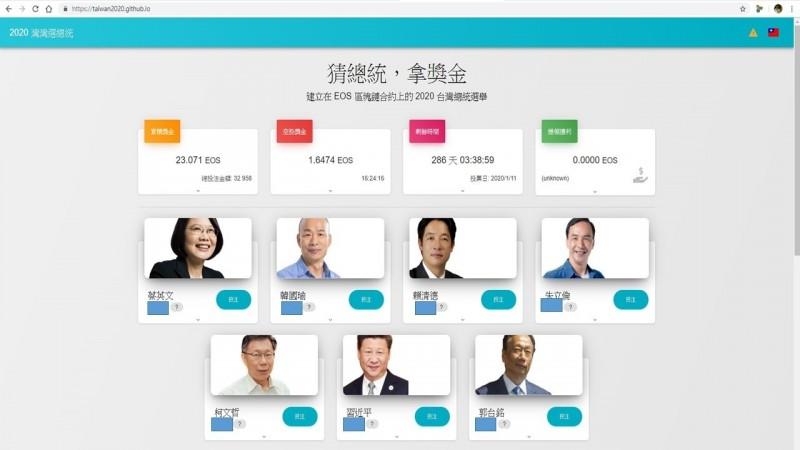 總統大選的「區塊鏈賭博網站」。(記者邱俊福翻攝)
