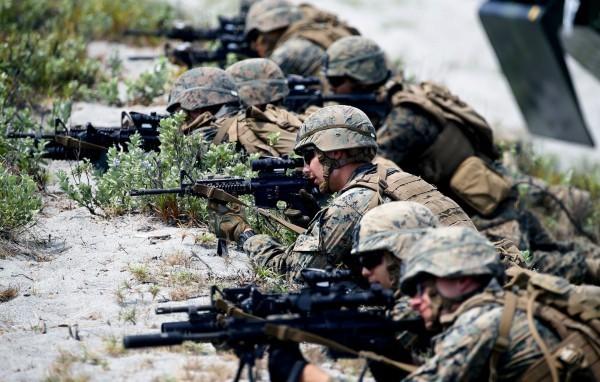 AIT證實美軍陸戰隊進駐的消息曝光後,引發中國官媒不滿。(美聯社)