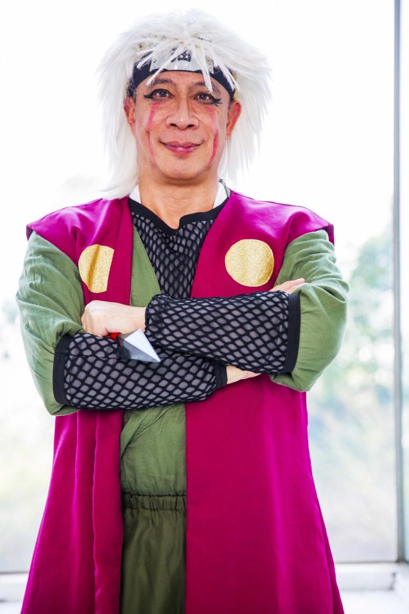 城市科大校長連信仲也犧牲色相,裝扮成動漫《火影忍者》裡的角色「自來也」,讓師生轟動。(台北城市科技大學提供)