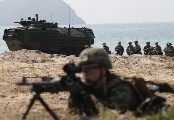 美國陸戰隊進駐美國在台協會,引發中國官媒不滿。(歐新社)