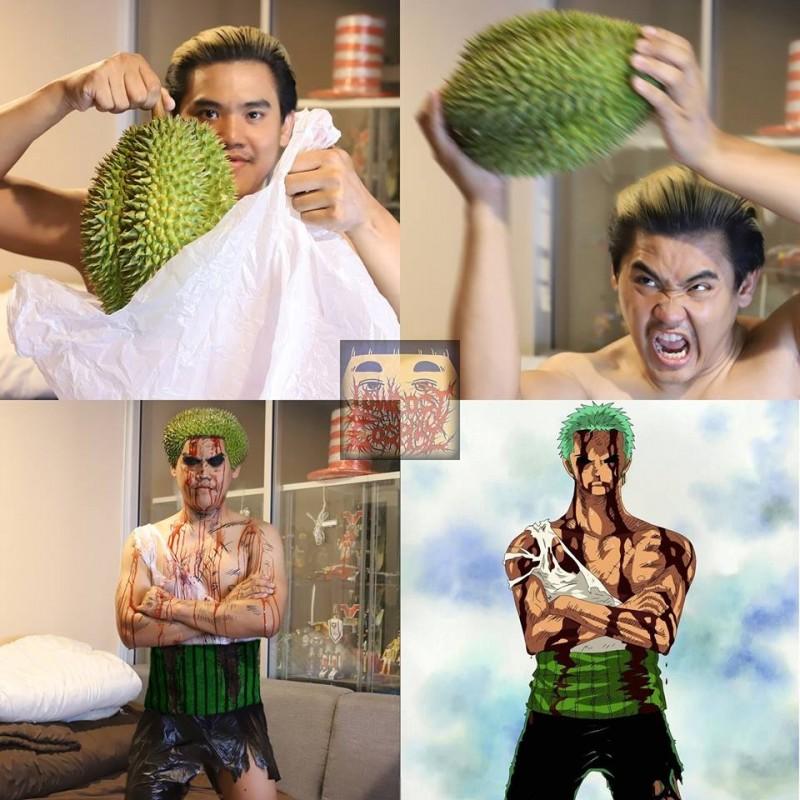 泰國知名網紅「Anucha Sangchart」也曾利用榴槤裝扮成搞笑版「索隆」。(圖擷自臉書)