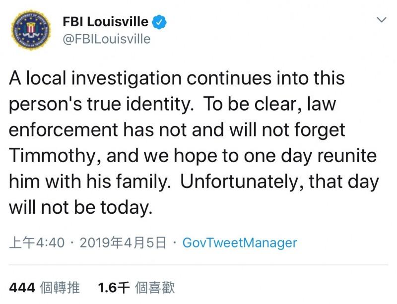 FBI代理人蒂莫西梁(Timothy Beam)在推特發文:「我們會繼續調查那人的真實身分。執法部門不會忘記提莫西,我們希望他有天能和家人團聚。不幸的是,那天不是今天。」(圖截自推特)