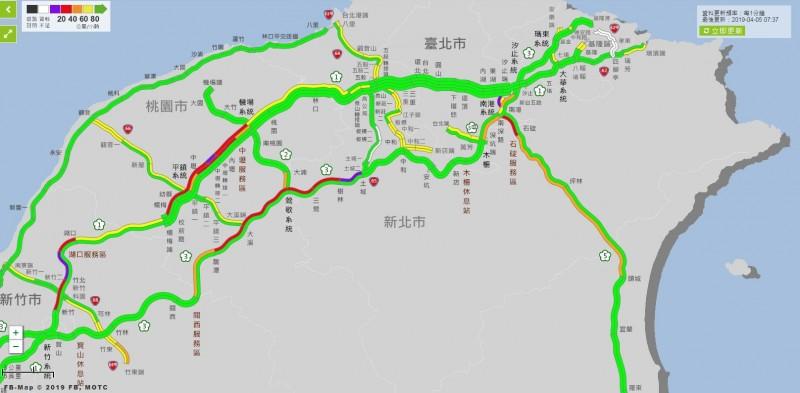 今天是清明4天連假第2天,交通部高公局預估今天整日國道雙向總延車公里為126百萬車公里,為平日的1.5倍,且上午會以南下車流為主。(圖擷自高速公路1968網站)