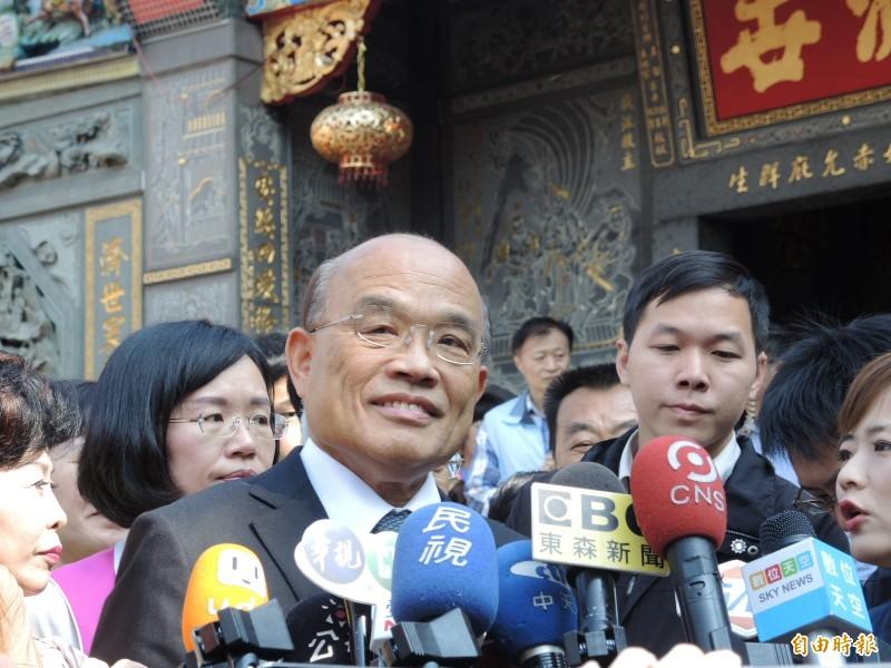 蘇貞昌對近期公股行庫人事調動招至藍營批評,表示他自己一向用人唯才。(記者翁聿煌攝)