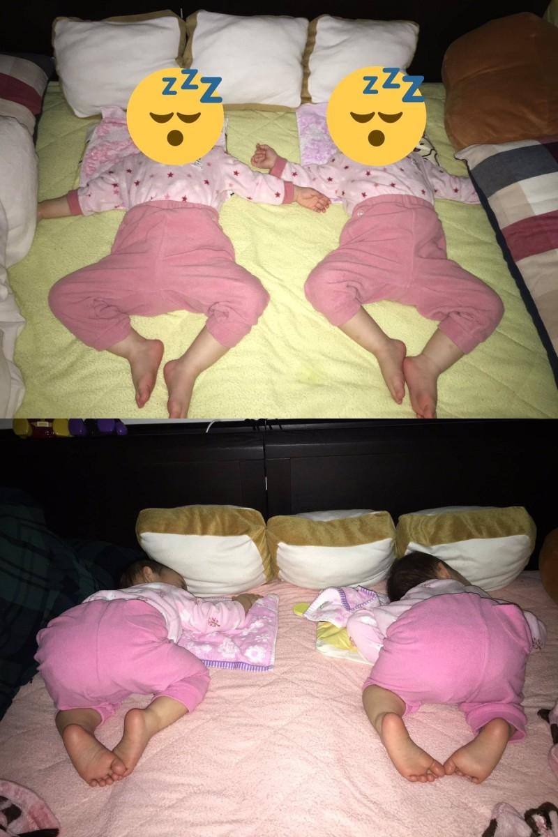 雙胞胎就連睡姿都一模一樣。(圖擷取自推特)