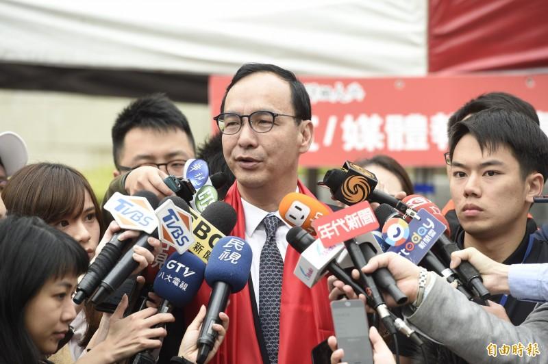 朱立倫表態要求黨中央儘速徵召高雄市長韓國瑜,強調黨中央該溝通的是反對的人,而不是他。(記者叢昌瑾攝)