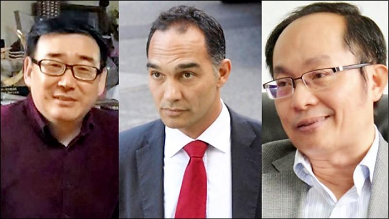 異議作家楊恆均(左起)、記者加諾(John Garnaut)和雪梨科技大學任教的馮崇義(Feng Chongyi)。(取自網路)