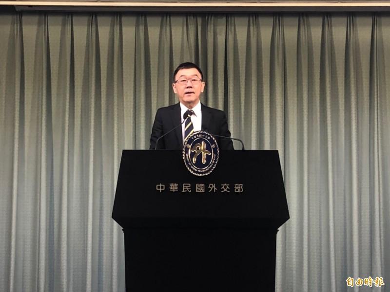 外交部亞太司副司長張均宇出席外交部例會。(記者呂伊萱攝)