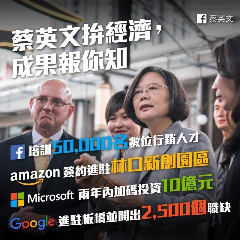 蔡英文指出,近期臉書(Facebook)、亞馬遜(Amazon)、微軟(Microsoft)與谷歌(Google)加碼投資台灣,而言論自由、網路自由,尊重隱私和智慧財產權,就是外國企業看好台灣、加碼投資台灣的重要原因。(圖取自蔡英文 Tsai Ing-wen臉書)
