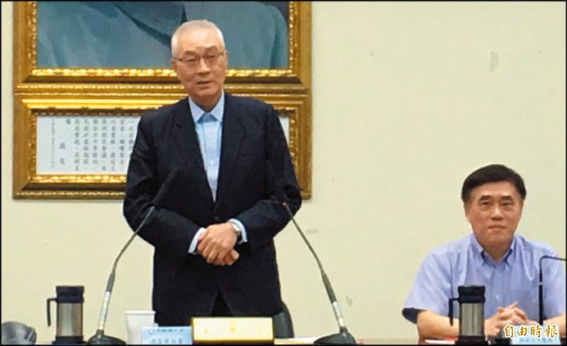 國民黨主席吳敦義昨日在中常會上表示,沒有意願參加黨內總統初選,強調推舉最有勝選機會的人是他唯一的目標。(記者林良昇攝)