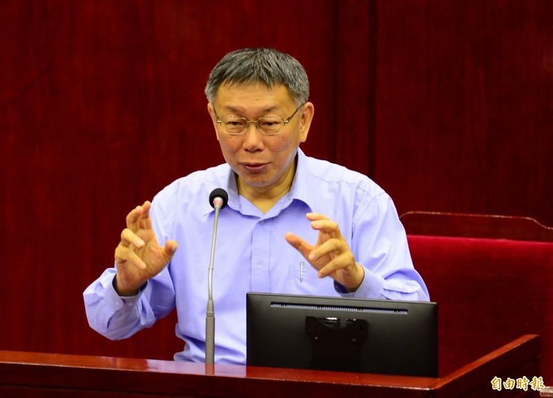 台北市議會總質詢,台北市長柯文哲備詢。(記者王藝菘攝)