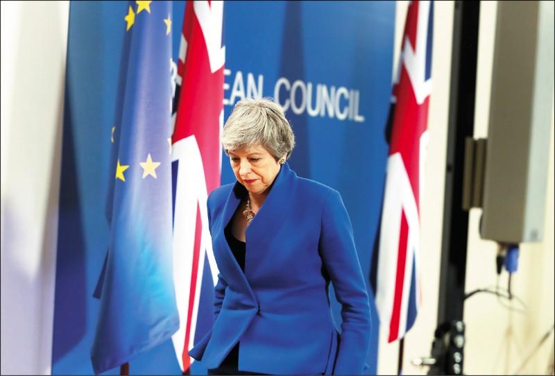 英國首相梅伊十一日獲得歐盟各成員國領袖首肯,最遲可到十月卅一日再脫歐。圖為她在歐盟峰會後的記者會上發表談話。(美聯社)