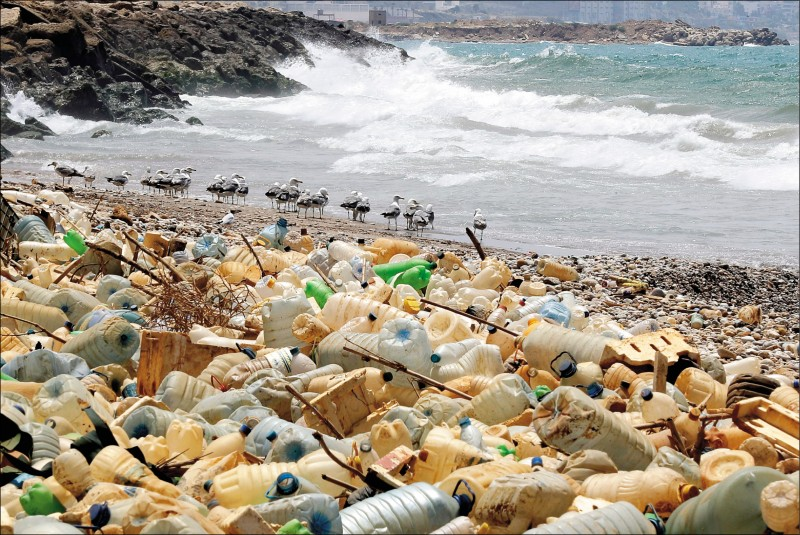 一項電腦模型分析顯示,多數海洋塑膠可能沉在東南亞、地中海與印度洋海底。圖為去年七月十九日,黎巴嫩貝魯特南邊海岸,有大量塑膠瓶罐沖上岸。(法新社檔案照)