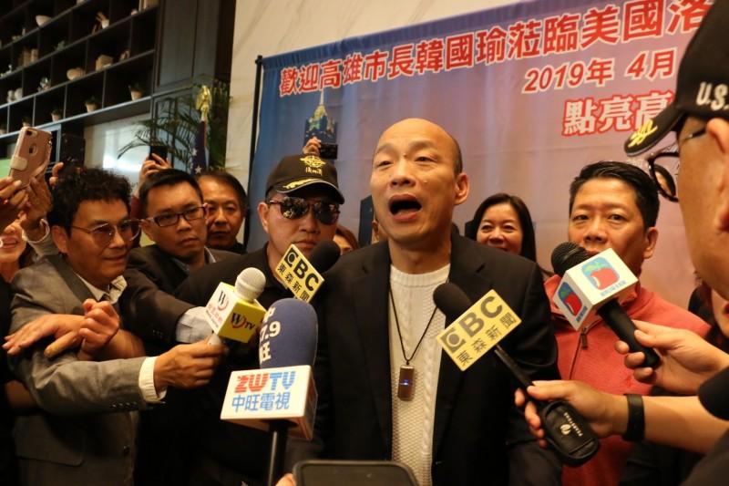 高雄市長韓國瑜美西時間4月12日(台北時間13日)下午約5點多抵達洛杉磯,展開訪美第三天行程。(高市府提供)