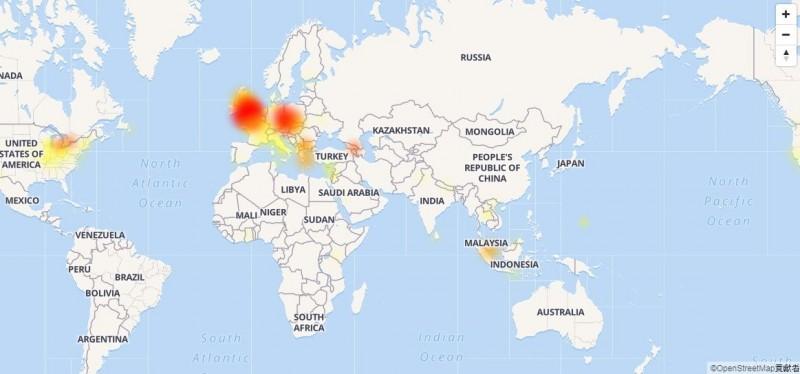 臉書與IG在晚間起於歐洲、亞洲、美洲等地均有用戶反映斷線情況。(圖擷取自DownDetector)