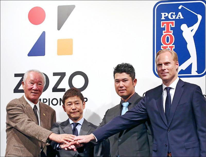 美國總統川普預定5月份訪問日本。日本媒體報導,由於他愛打高爾夫球,日本政府正安排在他訪日期間,請日本高球傳奇名將、現年76歲的青木功(圖左)陪打。圖為擔任「日本高球巡迴賽組織」(JGTO)會長的青木,2018年11日出席「職業高球協會」(PGA)在東京舉行的記者會。(美聯社檔案照)