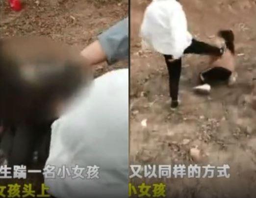 中國河北廣平縣發生7名女學生霸凌事件,不僅用腳踹踢對方,還強迫對方跪地叫「爹娘」,該縣教育體育局職員則稱「不是很嚴重,就是幾個孩子鬧別扭了」,言論遭中國網友砲轟。(圖擷取自影片)