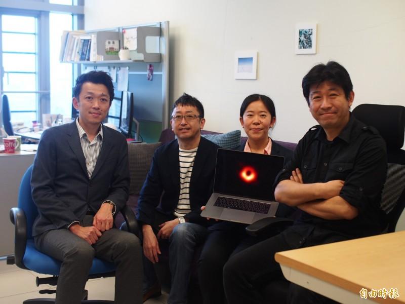 中研院天文所研究員松下聰樹(右1)、博士後研究員小山翔子(右2)、客座專家中村雅德(左2)、副研究員浅田圭一(左1)。(記者簡惠茹攝)