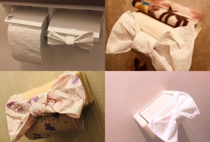 日本興起「廁紙蝴蝶結」熱潮,許多網友在推特上張貼自己的作品,其中也有人因為害怕不衛生,選擇在家中廁所嘗試。(圖擷取自推特)