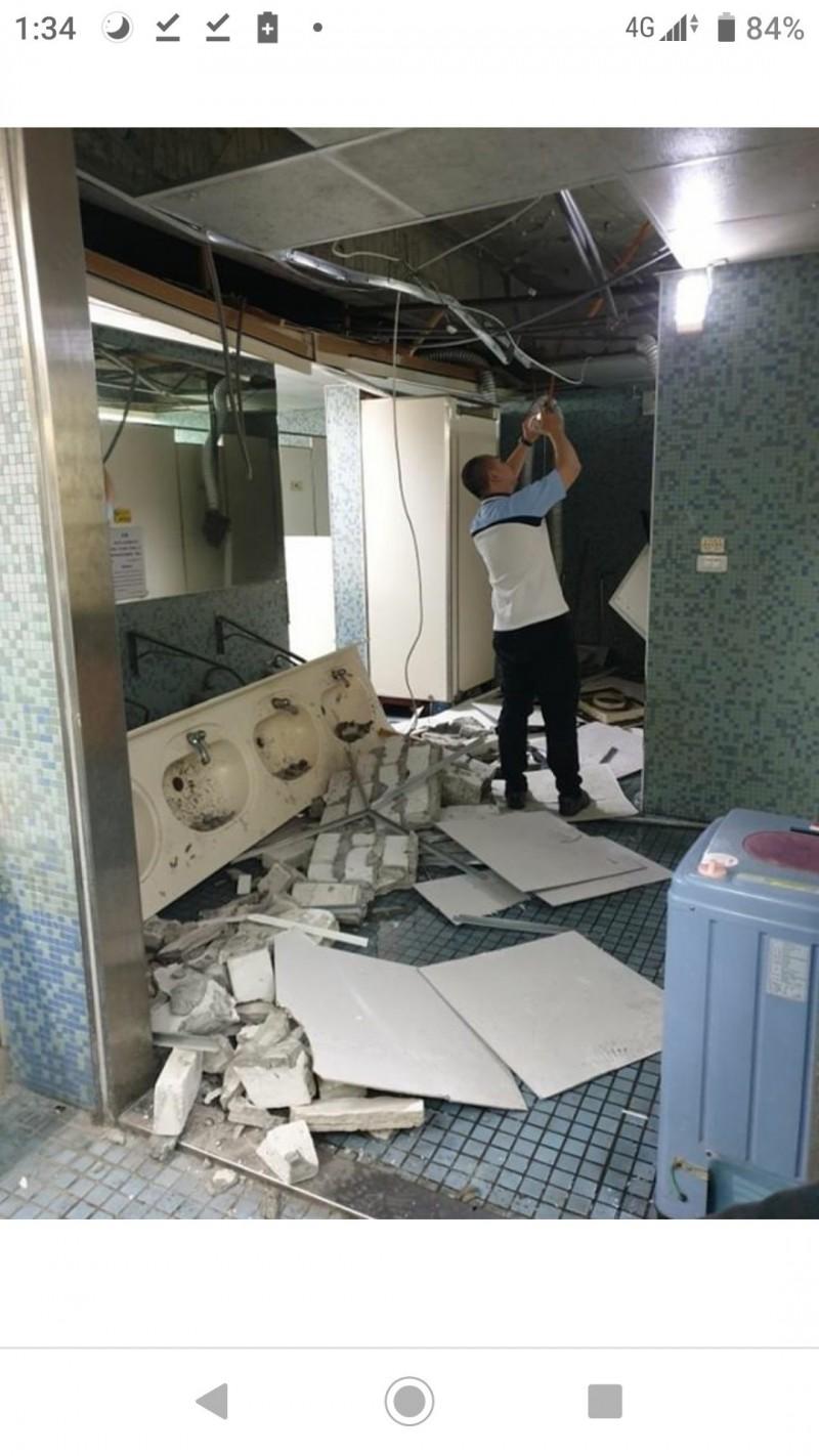 花蓮6.1強震撼全台  台師大教室牆裂石落、洗手台垮掉