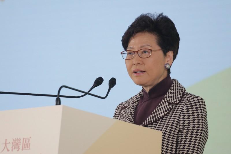 香港行政長官林鄭月娥奉北京之令,已提交報告,向中國政府說明查禁香港民族黨的過程。(美聯社檔案照)