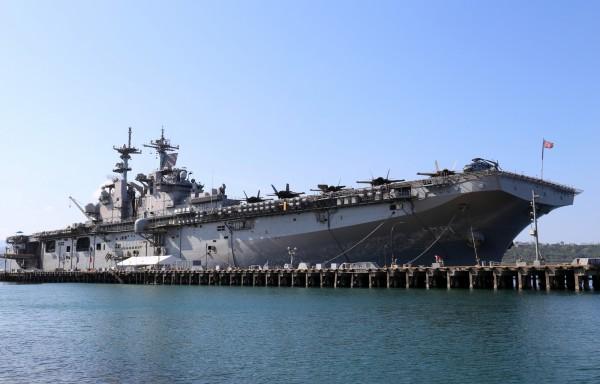 民進黨籍立委王定宇今日在立院質詢時揭露,4月15日美國小航母「大黃蜂號」正在台灣東南部海域。(歐新社)