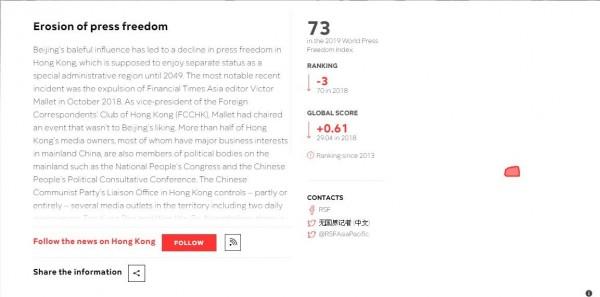 報告指出,香港一半以上的媒體經營者都是全國人大代表、政協等成員,中聯辦部分或全面控制著香港幾家媒體。(圖擷取自RSF)