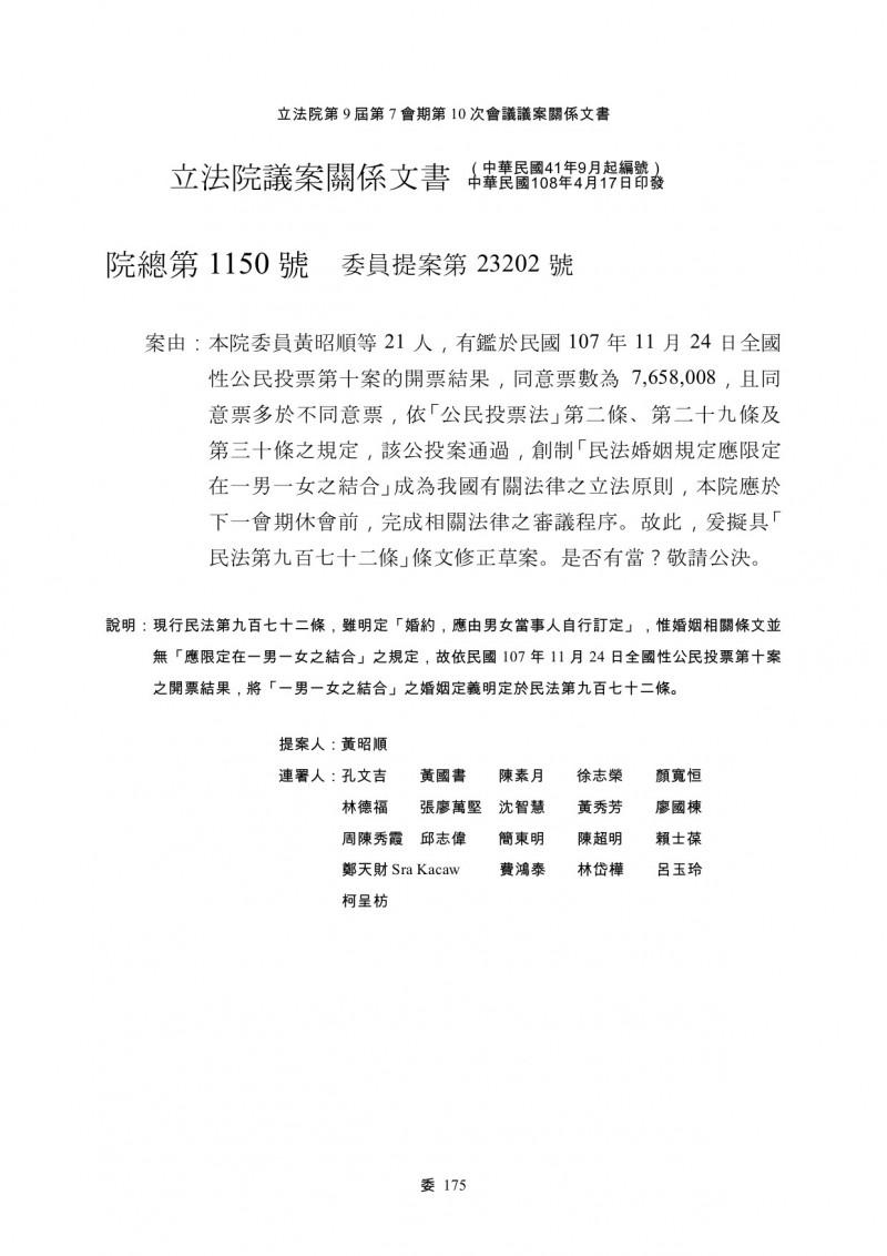 藍委修民法「婚姻限一男一女」 同黨不挺:違反748精神