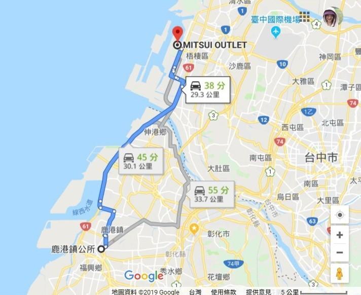 台中三井到鹿港鎮公所經由西濱快速道路路程僅30公里,就是少了西濱直達公車,造成海線居民行的不便。(圖擷取自Google地圖)
