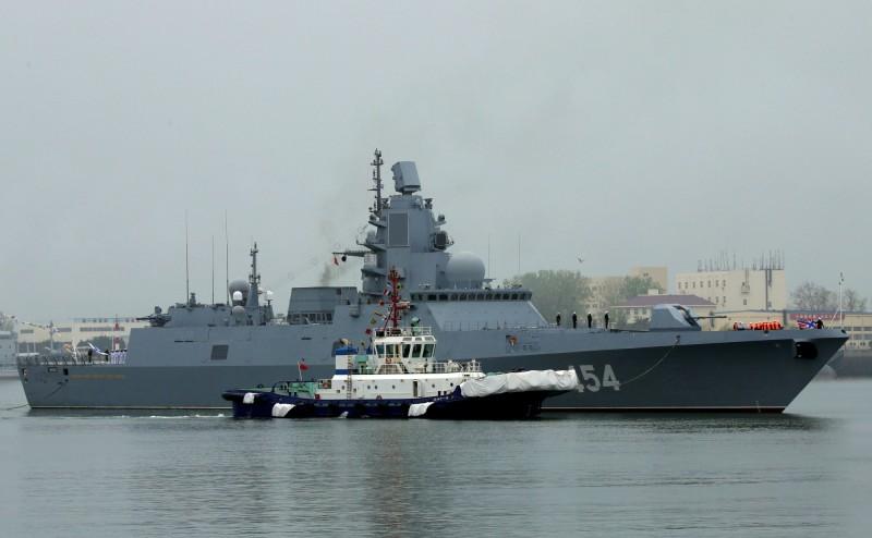 俄羅斯派出護衛艦「海軍元帥戈爾什科夫號」參加青島閱艦式。(路透)