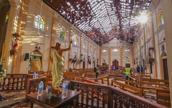 聖塞巴斯提安教堂是昨日發生爆炸的其中一處。(美聯社)