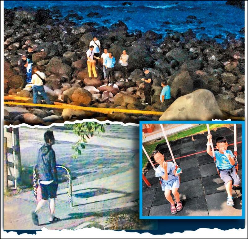 涉嫌殺害兒女的吳秉楠遺體,昨天在金山海邊被發現,檢警、法醫趕抵現場勘驗,監視器也拍到吳男最後身影。 (記者王宣晴、吳昇儒翻攝、取自臉書)