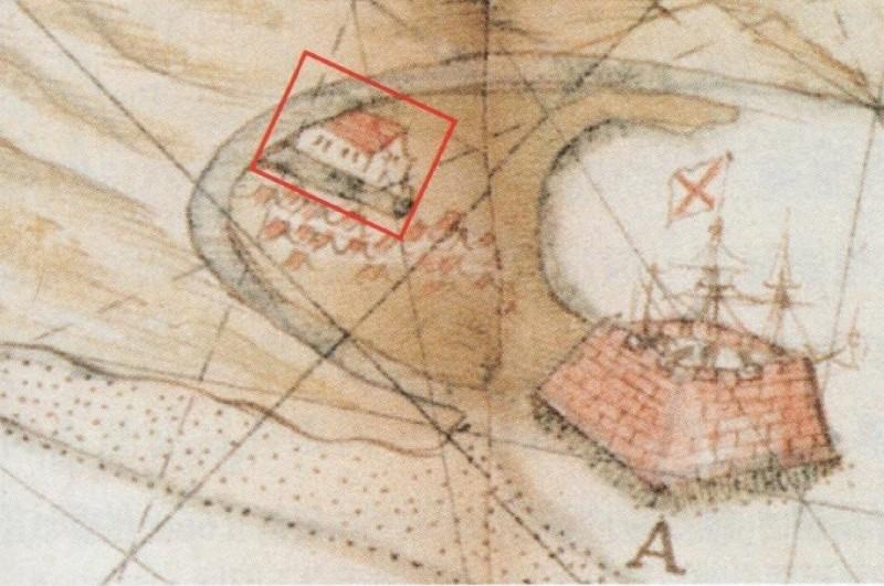 荷蘭人Jun Gerbrantsz Black所繪的諸聖教堂與聖薩爾多城位置圖。(圖由基隆市文化局提供)